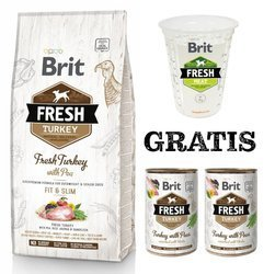 Brit Fresh Turkey With Pea Adult Light Fit & Slim 12kg + 2 puszki i miarka GRATIS
